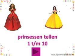 Digibordles Prinsessen tellen 1 t/m 10. http://digibordonderbouw.nl/index.php/themas/prinsessen/prinsessen