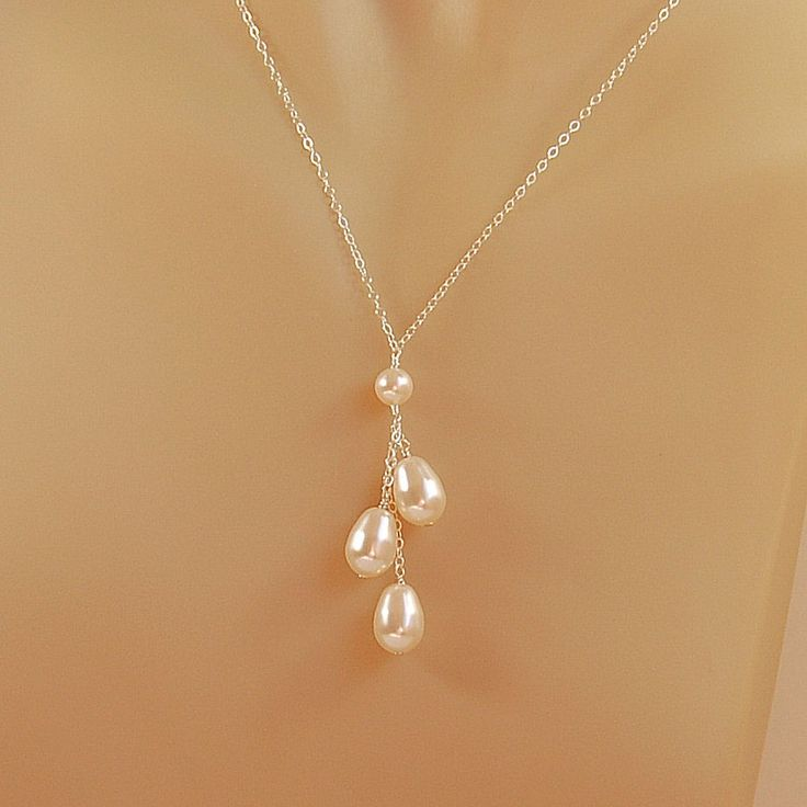 Pearl Necklace for Bride Bridesmaid Bridal by herecomesthebride