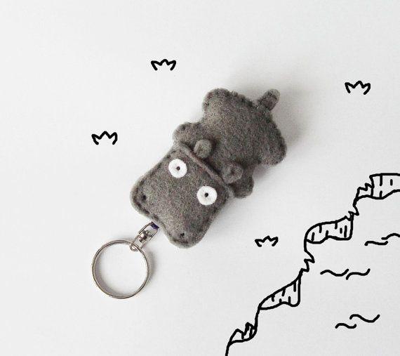 Hippo felt keychain stuffed hippo figurine by InspirationalGecko, €12.00