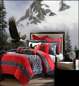 southwest style decorating ideas - southwestern theme bedroom decorations - Southwest Native American bedroom decorating ideas - wolf bedroom ideas - wolf decor - wild animal country decor - rustic style decorating - south western decor horse bedroom theme - cowboy bedroom theme decor - horse wall murals