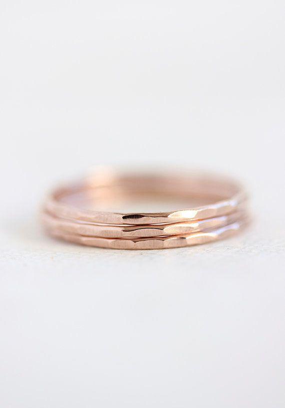 14k rose or anneaux empilables, mince bande or, bague en or rose massif, anneaux de pile, empilable, recyclé, respectueux de l