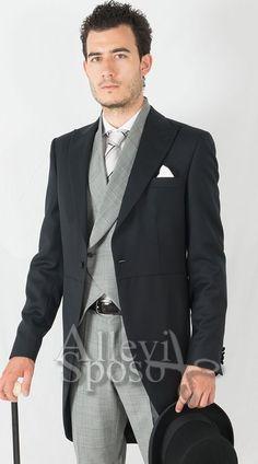 Abito blu gilet grigio leather