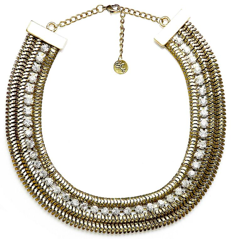 Sistaco's Brilliance Crystal Inset Gold Collar Necklace.  You too can feel like the Queen of the Nile in this Cleopatra inspired collar with crystal inset. Pair with regal blues and purples to complete your royal look. http://www.byariane.com.au/Sistaco-Brilliance