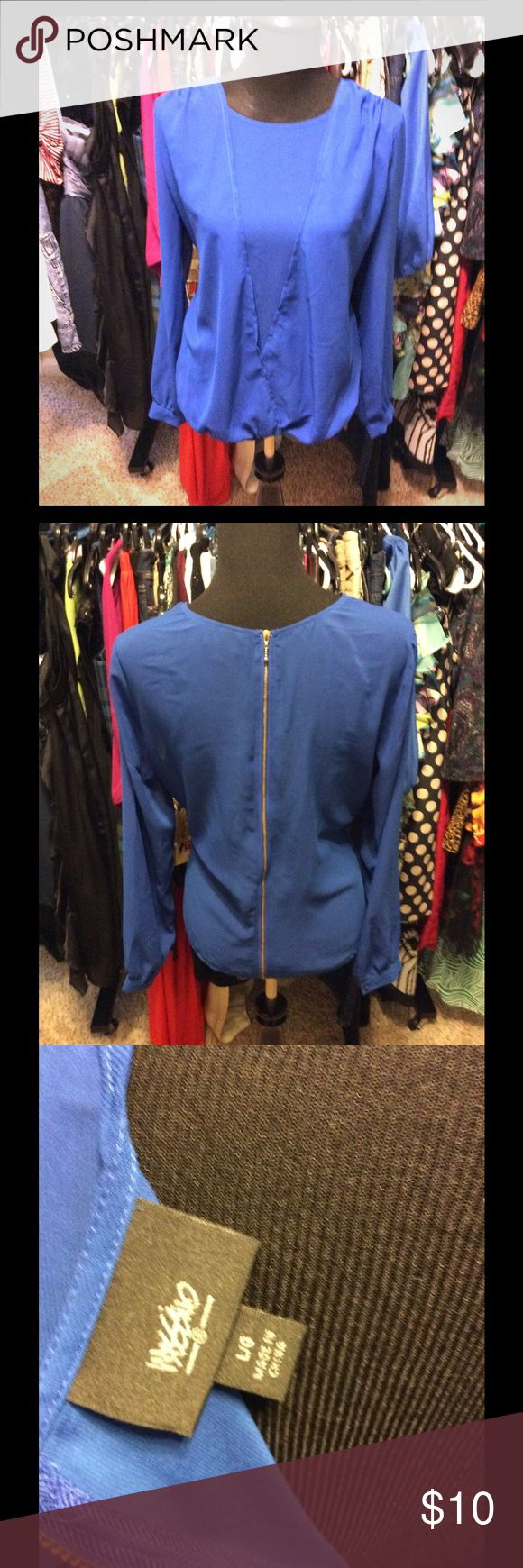 Super Sexy Sheer Top with Zipper in the back Super Sexy Sheer Royal Blue Top with Gold Zipper in the back-Size L Mossimo Supply Co Tops Blouses