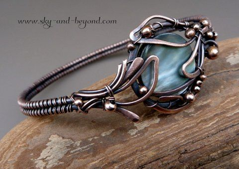 Divine Mirror  Copper Bracelet with Natural Black by SkyAndBeyond, $77.00