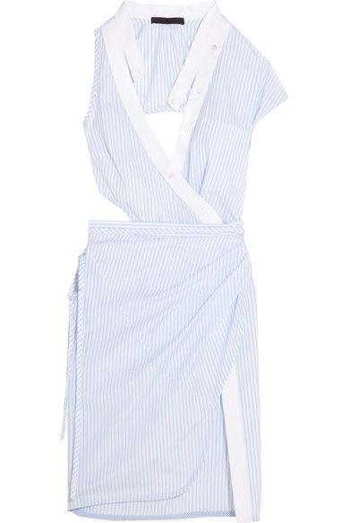Alexander Wang - Cutout Striped Cotton-poplin Wrap Dress - White - US2