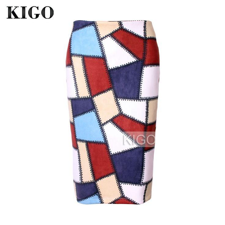 КИГО 2016 Осень искусственной замши юбки для женщин старинные колено-Длина bodycon Миди юбка сексуальный пэчворк карандаш-юбка с рисунком KH2447H