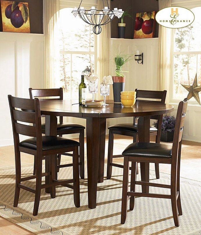 Homelegance Ameillia Round Counter Height Table In Dark Oak By Dining Rooms Outlet