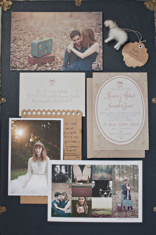 great photo-filled wedding stationery, photo by Katie Purnell http://ruffledblog.com/intimate-irish-wedding #stationery #weddinginvitations #savethedate