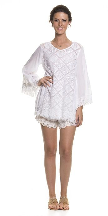 Holiday Clothing Poni Cotton Lace White Top