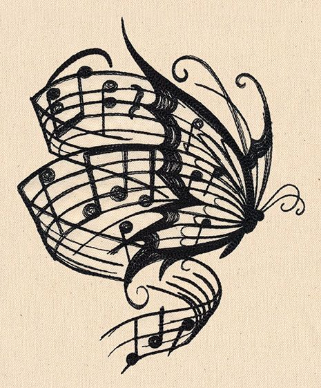 Soaring musical notes stream from this butterfly's wings. Pretty and it would also make a awesome tat.