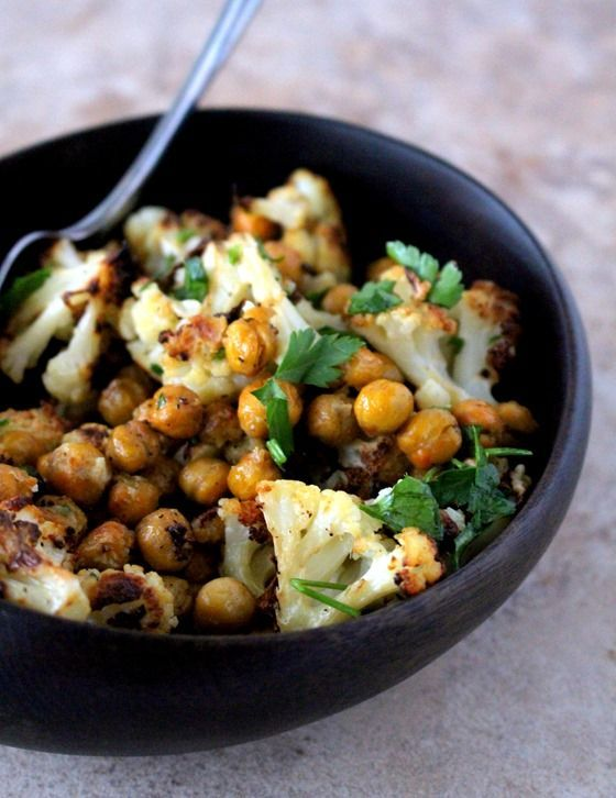 Roasted Cauliflower + Chickpeas with Dijon Vinaigrette. Feed a Child, Nourish a Mind - The Wheatless Kitchen