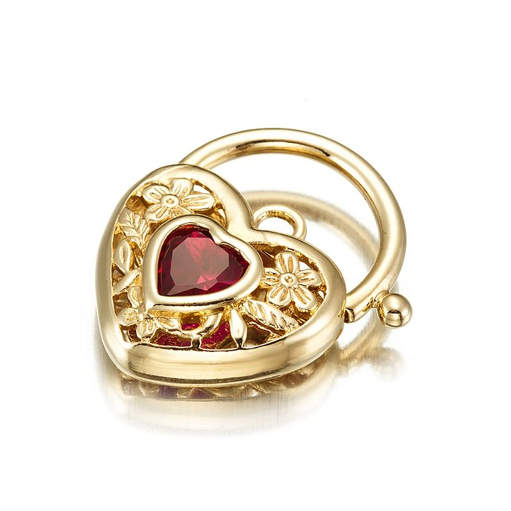 18ct Yellow Gold Layered Filigree Heart Locket with a Ruby Coloured CZ Stone | Allure Gold