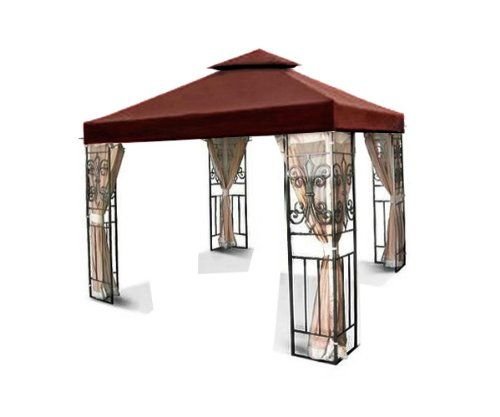 New MTN Gearsmith 10x10 2 Tiered Replacement Garden Gazebo Canopy Top Sun Shade Nutmeg Brown
