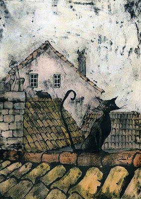Oniris - Leticia Zamora (dibujo e ilustración): gatos en los tejados...
