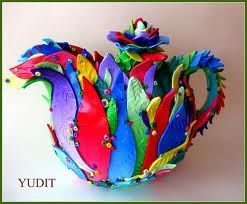 #teapots - looks as if made of polymer clay(?)  very colourful & vibrant ... a cheery cuppa♥♡♥