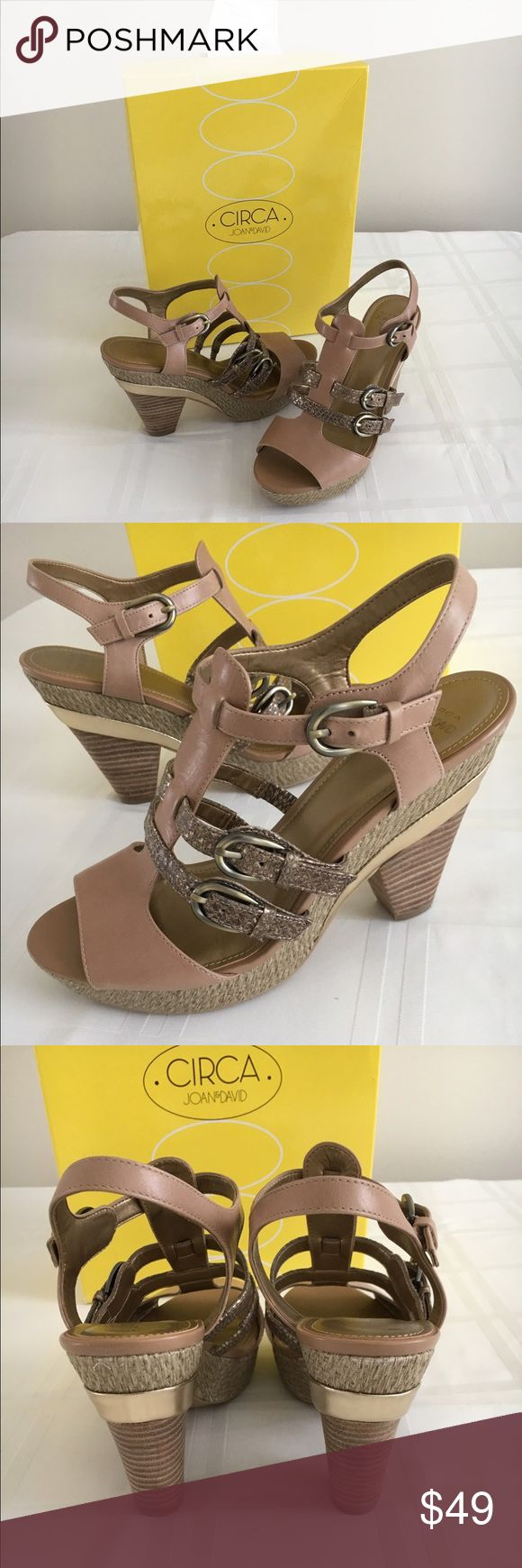 """Circa Joan & David platform sandals Beautiful blend of tan, jute and gold. 3 1/2""""-4"""" wooden stacked heel. 1"""" platform. Fully adjustable. Size 8 M. Fits true to size. Worn one time. A little too high for me. Paid $75 at Macys. circa joan & david Shoes Sandals"""