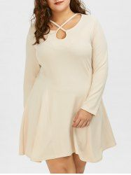 Plus Size Long Sleeve Cut Out Skater Dress