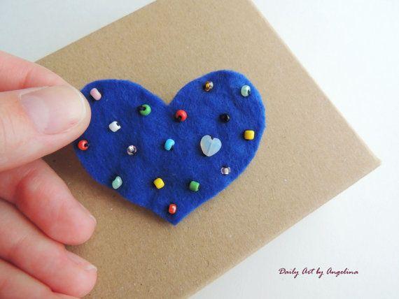 Blue heart-shaped felt brooch bead by DailyArtbyAngelina on Etsy