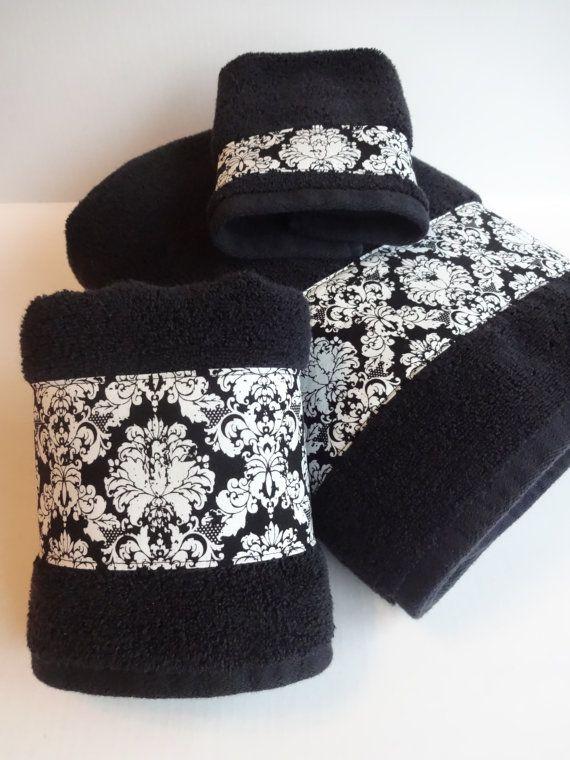 Set of 3 Bath towels, black damask, black towels, hand towels, bath towel sets, bathroom black damask,