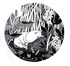 Moomin black and white melamine picnic plate - The Dreaming