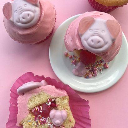 Frances Quinn recipe for Percy Pig piñata cupcakes
