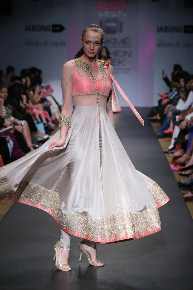 Anushree Reddy Lakme Fashion Week Summer Resort 2014 pink and white anarkali #lakmefashionweek