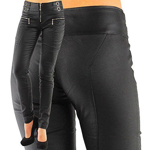 DANAEST Damen Kunstlederhose Skinny (Röhre No: 245), Grösse:38 M;Farbe:Schwarz Danaest