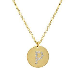 La Soula for Affinity Diamond Initial Pendant w/Chain 14K Plated