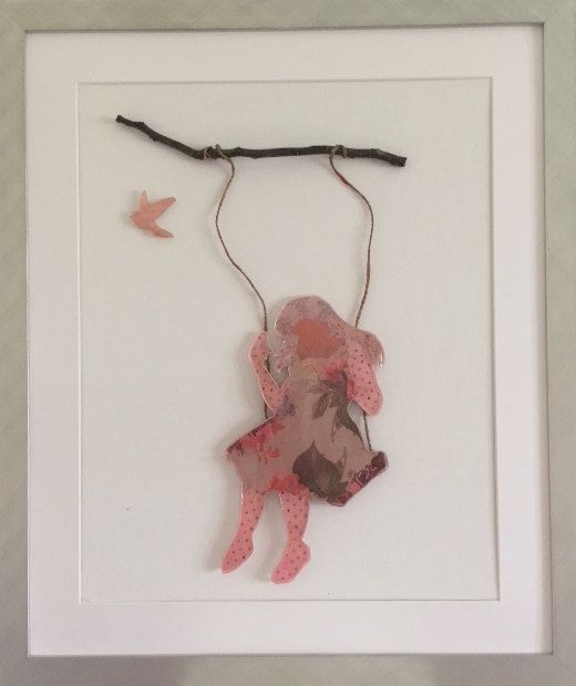 Resin girl on swing hanging from a branch with resin bird and on a white stretched canvas board by TheFlightyFlamingo on Etsy