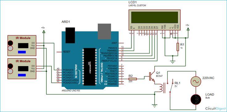 Visitor Counter Circuit Diagram Using Arduino In 2019