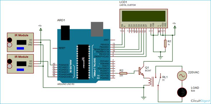 Visitor Counter Circuit Diagram using Arduino