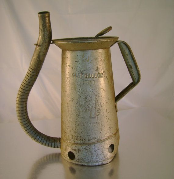 Antique Huffman Half Gallon Oil Can With Flexible By