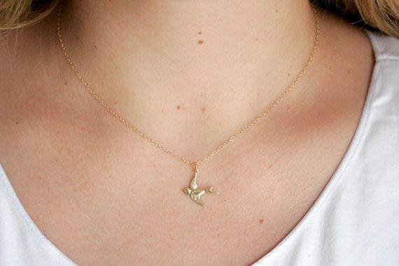 Gouden vogel ketting goud Swallow ketting gouden door rubytwelve