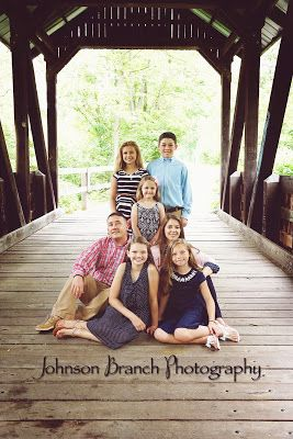 Outdoor family summer photo, covered bridge, 5 kids.  Johnson Branch Photography