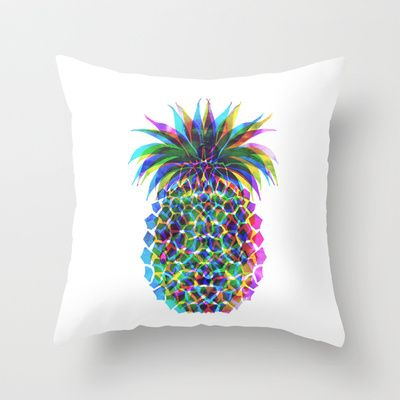 Pineapple CMYK Throw Pillow by SchatziBrown #pineapple #tropical