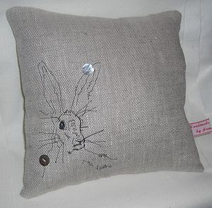 Hare Linen Cushion - soft furnishings
