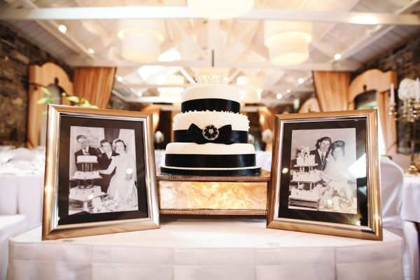 black and white cake and photographs