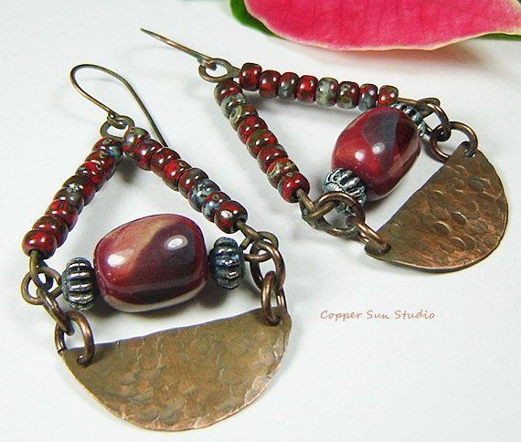 Red Garnet Color Earrings Kazuri Bead Earrings by CopperSunStudio