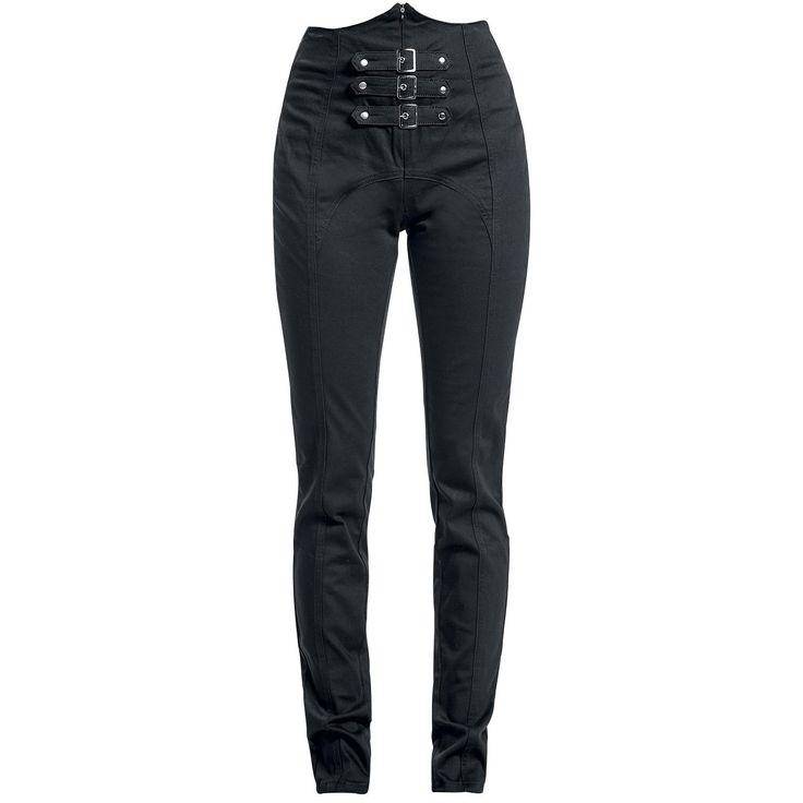 High Waist Buckle Pants (Skinny Fit) - Cloth Trousers by Gothicana by EMP