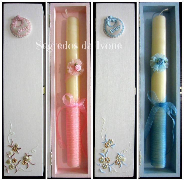 AB12- Caixas de velas de batismo pintadas e velas decoradas
