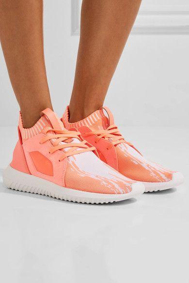 adidas Originals - Tubular Defiant Primeknit, Neoprene And Felt Sneakers - Coral