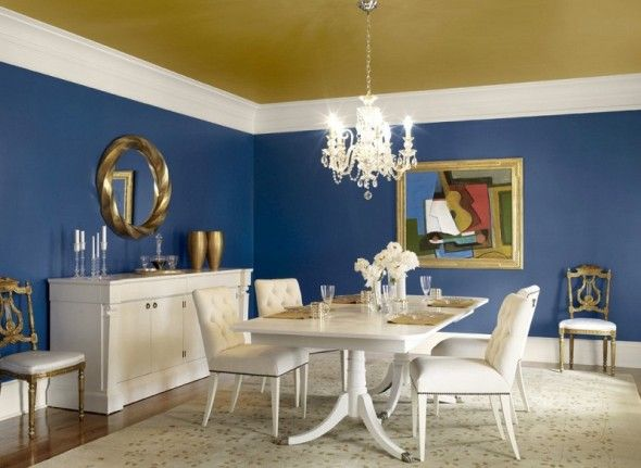 Blue Dining Room with Golden Ceiling
