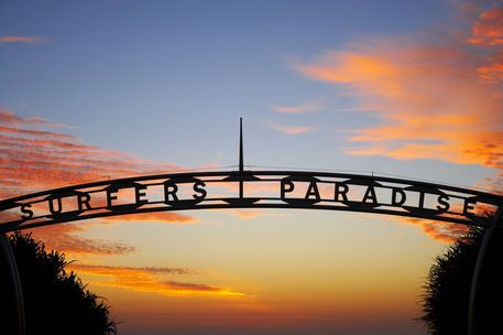 The iconic Surfers Paradise sign at Surfers Paradise beach