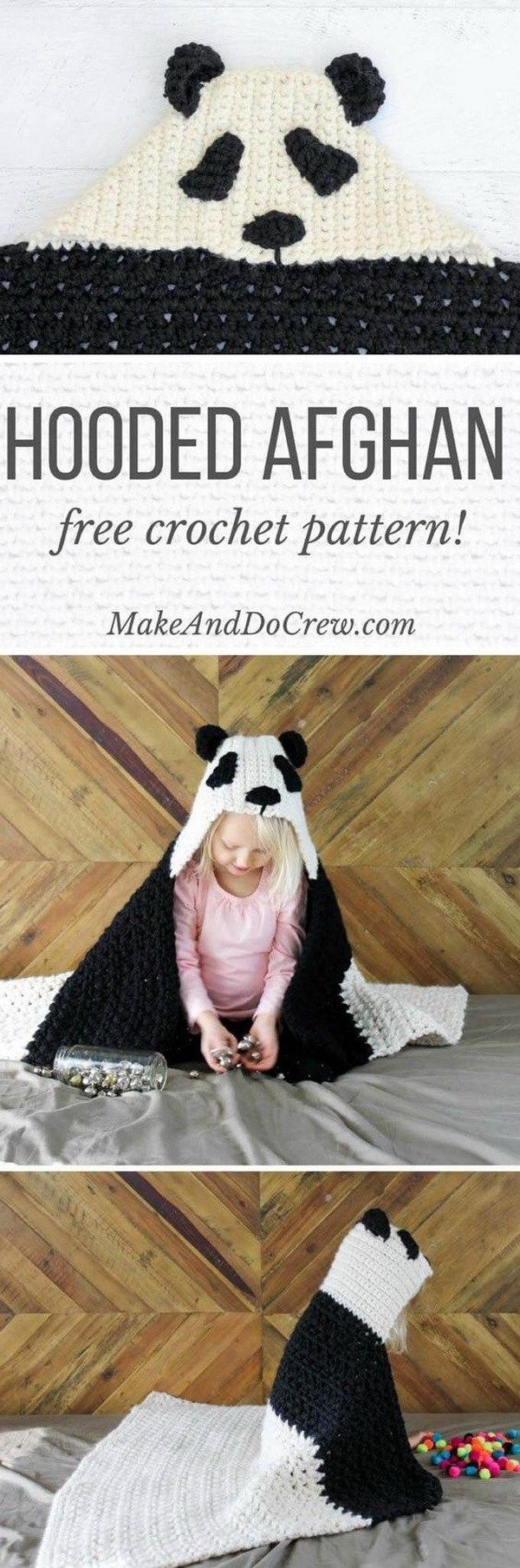 Crochet Panda Hooded Baby Afghan.