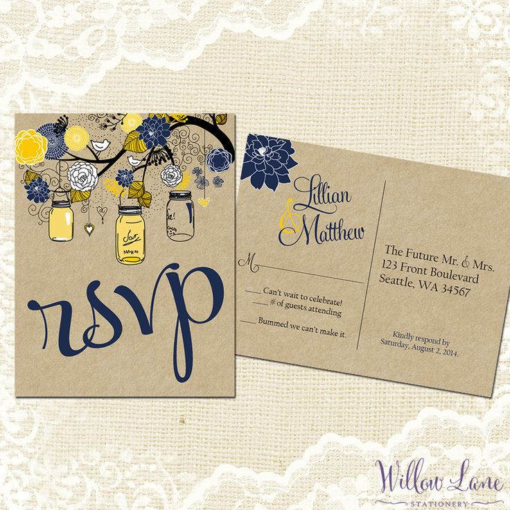 proper response time for wedding rsvp%0A RSVP Postcard  Mason Jar rsvp Card  Mason Jar Reply Card Vintage Mason  Jar