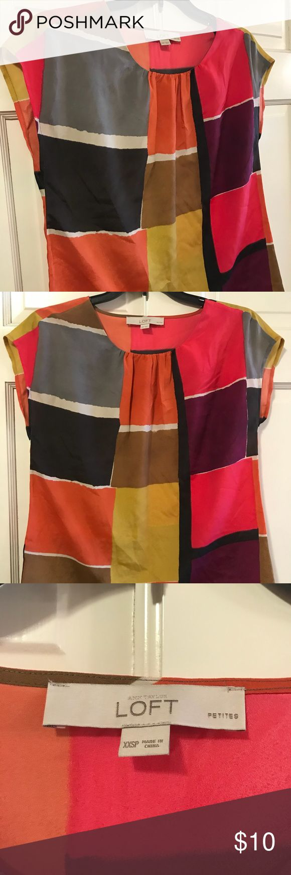 LOFT Color Block Top Make a statement with this colorful top!   LOFT Short Sleeve Blouse   Size: XXS Petite  From a Smoke Free Home. Thanks! LOFT Tops Blouses
