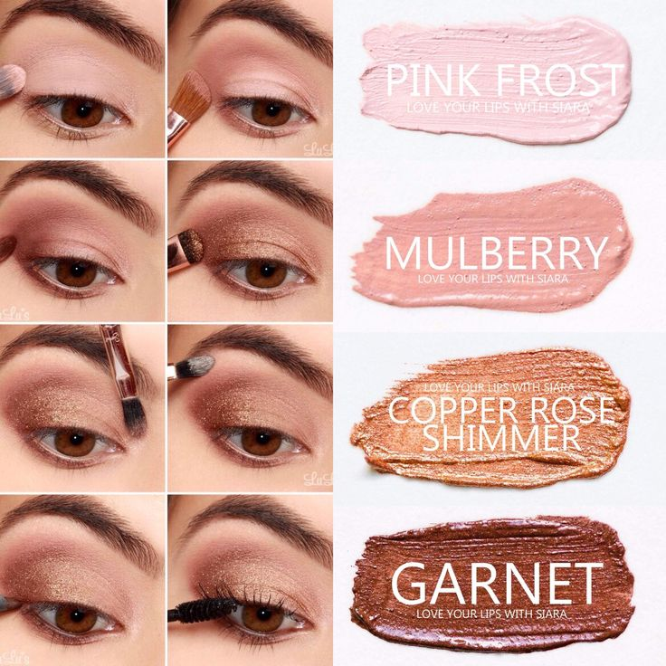 Step-by-step eyeshadow look using SeneGence ShadowSense colors in Pink Frost, Mulberry, Copper Rose Shimmer and Garnet. Smudge proof, waterproof, crease-proof, long-lasting eyeshadow. Cream to powder eyeshadow. Cruelty free makeup | Makeup look | Makeup how to | Makeup tutorial | long-lasting makeup | LipSense | LipSense distributor | www.lastinglipsbylindsay.com | Insta @ lastinglips_by_lindsay | Bella | Blackberry | Violet Volt | Candlelight | Onyx | Amethyst