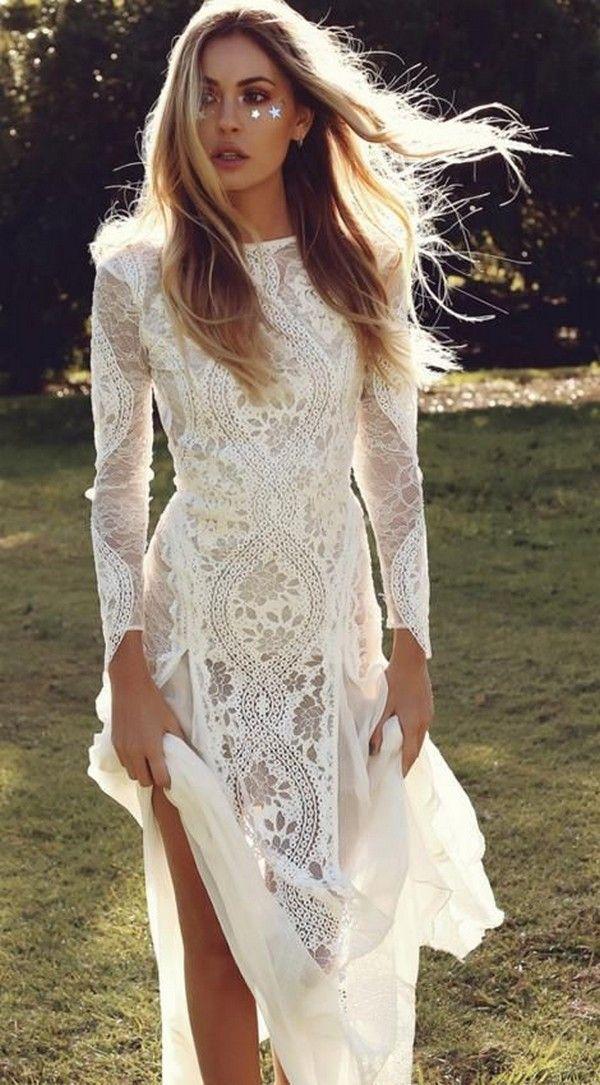 boho lace wedding dress with long sleeves #weddingdresses #weddingdress #bohowedding