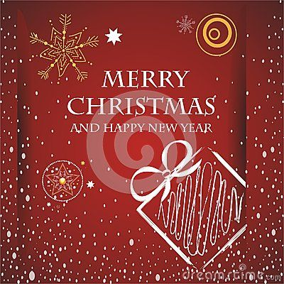 Vector image of christmas card with a red background with a christmas present and merry christmas text,stars